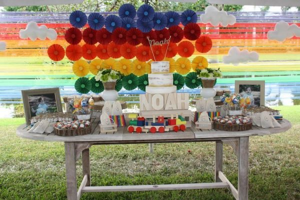 Colorful Noah's Ark Birthday Party! Perfect dessert table!