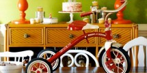 Red tricycle 1st birthday party centerpiece