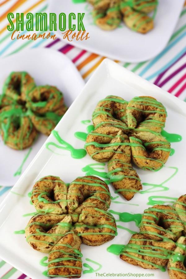 Shamrock Cinnamon Rolls - St. Patrick's Day treat