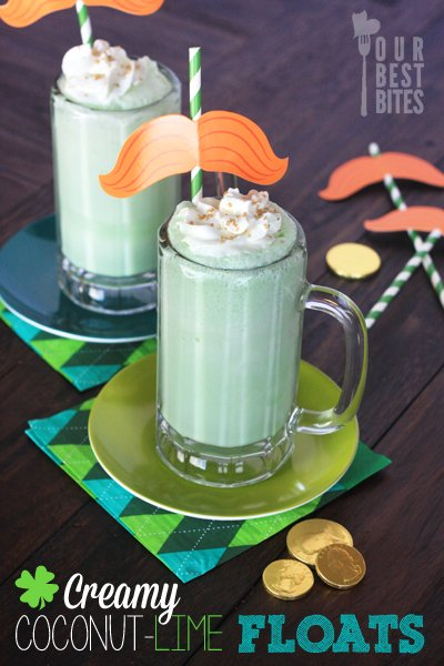 Creamy Coconut Lime Floats for St. Patrick's Day