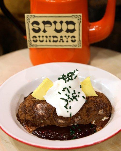 April Fools gourmet baked potato sundae