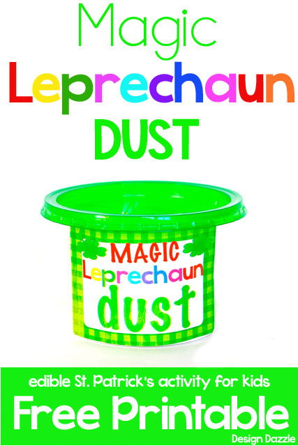 Leprechaun's like to leave little surprises on St. Patrick's Day. This edible magic Leprechaun dust is a white powder that turns green when milk is added. yummy to eat - Design Dazzle #stpatricksday #leprechaunactivity