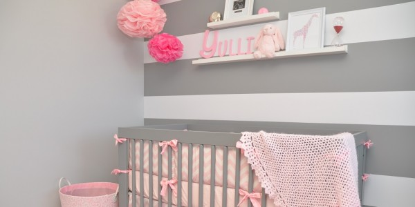 d6a42345b Darling pink and gray nursery with fab stripes! The gray really makes the  pink POP