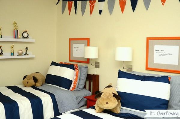 Navy And Orange Boys Budget Bedroom