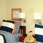 Navy and Orange Boys Budget Room