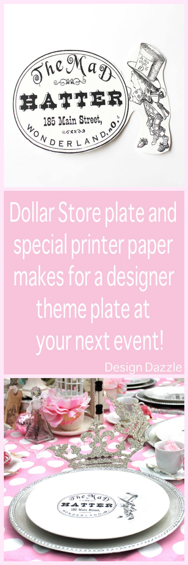 How to make a designer plate from the dollar store using special printer paper - Design Dazzle #dollarstore #printercrafts #tablescape