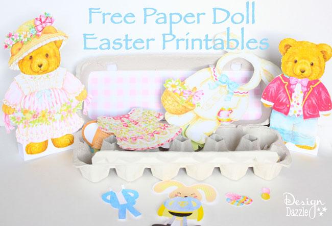 Free Paper Doll Easter Printables - Design Dazzle #easterprintable #eastercraft #paperdolls