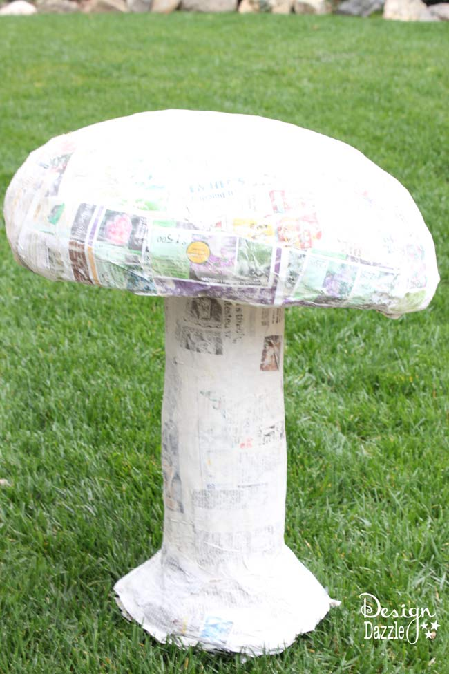 How to paper mache a giant mushroom - Design Dazzle