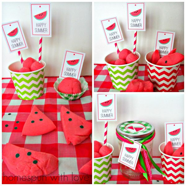 summer ideas with kids: watermelon playdough