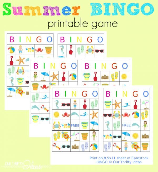 Summertime BINGO printable game! Fabulous kids activity for summer! #kidsactivities
