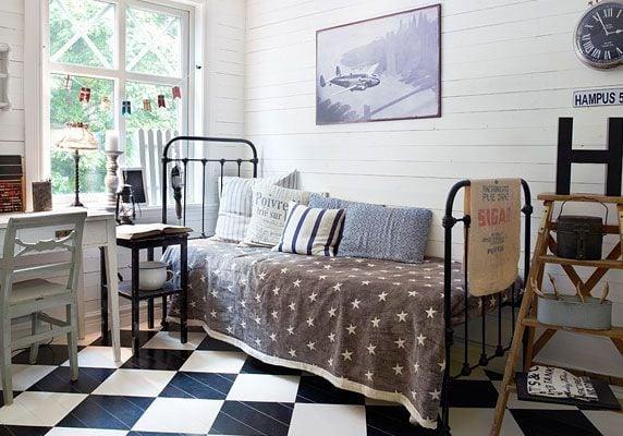 checker board floor in teen room