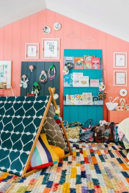 color blocked rug for kids room