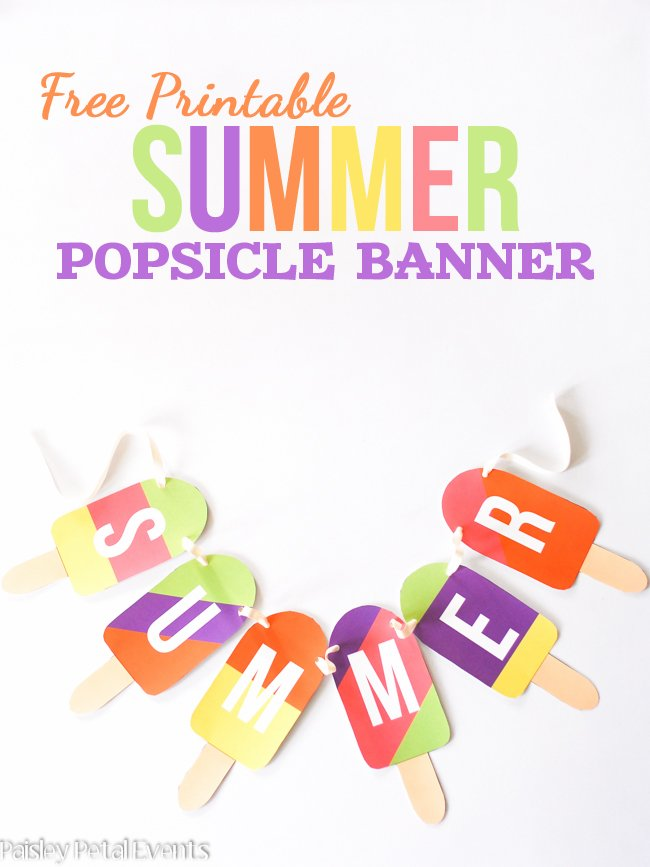 Free Printable Summer Popsicle Banner