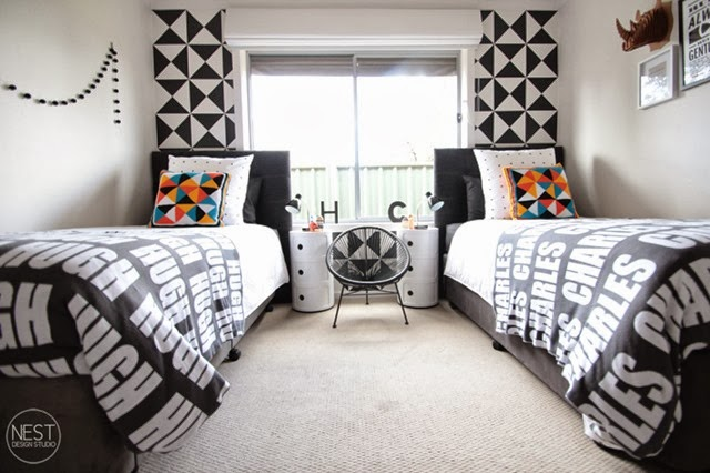 Black and White Contemporary Shared Boys Room - Design Dazzle