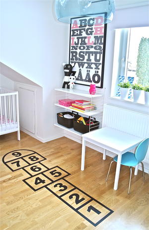add a hopscotch decal to a kids floor