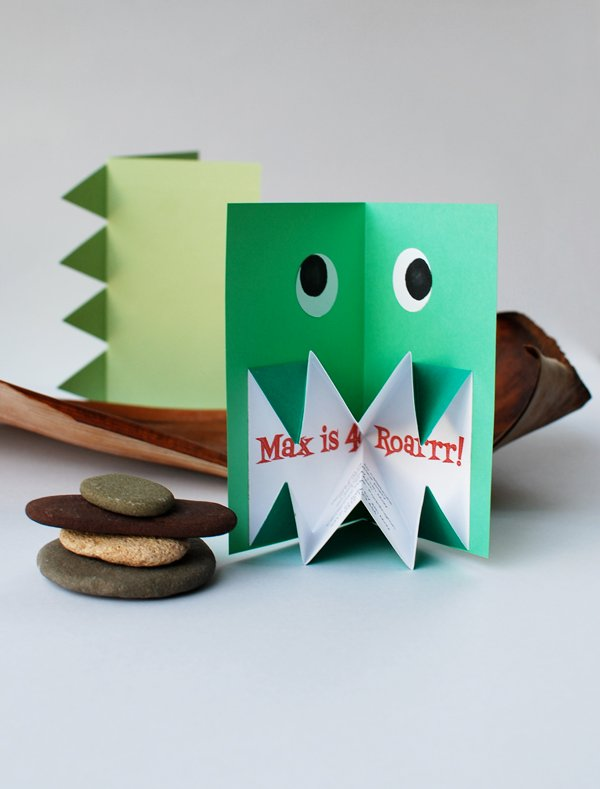10 creative diy kids birthday party invitations design dazzle diy origami dinosaur invitation solutioingenieria Images