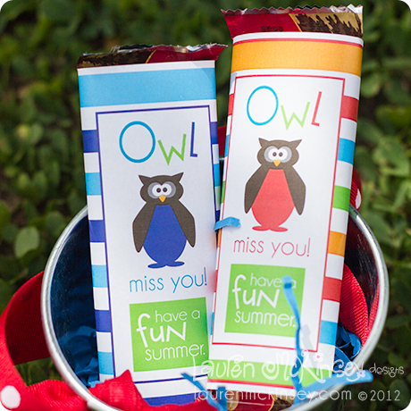 Owl Miss You Candybar Wrappers for Classmate gifts