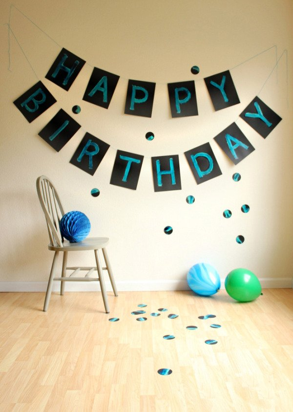 Giant painted DIY birthday banners