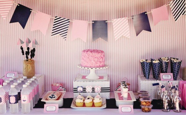 Pink & Navy Nautical Party