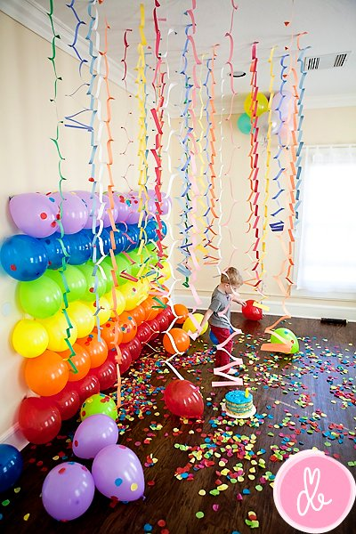 Rainbow balloon backdrop for kids parties