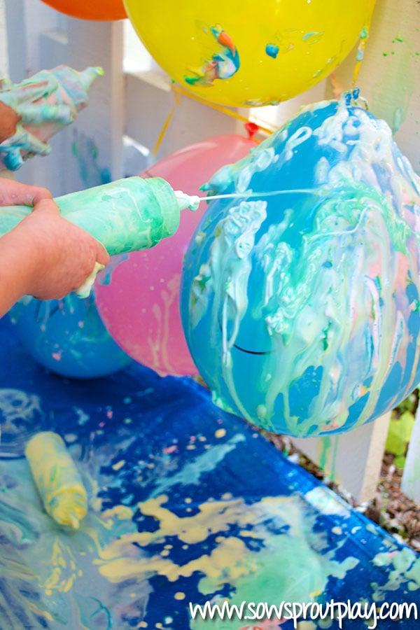 Shaving Cream Painting Balloons Activity