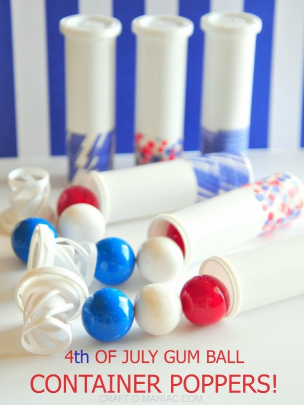 Tutorial on how to make 4th of july gumball container poppers