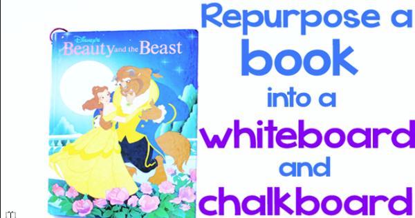 Repurpose a book into a whiteboard and chalkboard - Design Dazzle