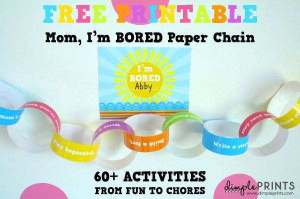 """""""I'm Bored"""" Free Printable paper chain! Great Kids activities for summertime! #kidsactivities"""