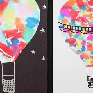 watercolor style hot air balloon