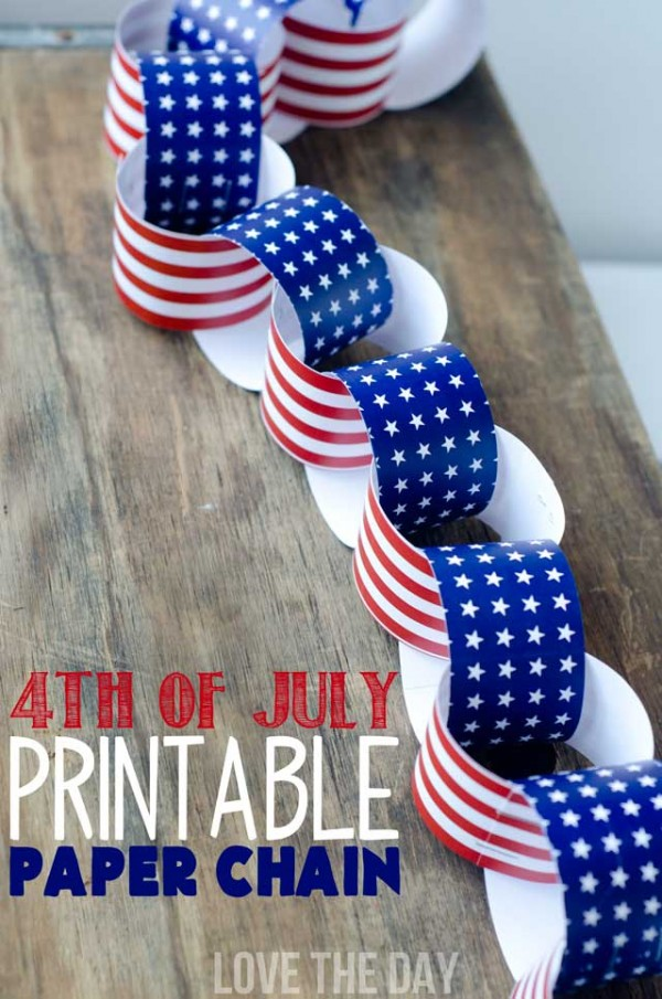 4th of July Kids Crafts! PRINTABLE stars and stripes paper chain!