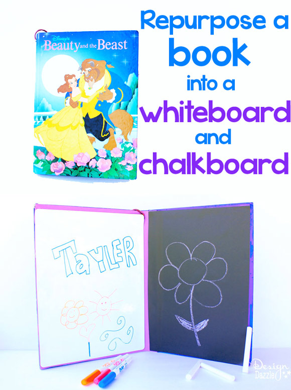 repurpose a book into a chalkboard and whiteboard