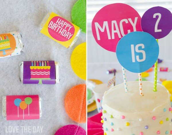 Polka Dot Birthday Party Toppers
