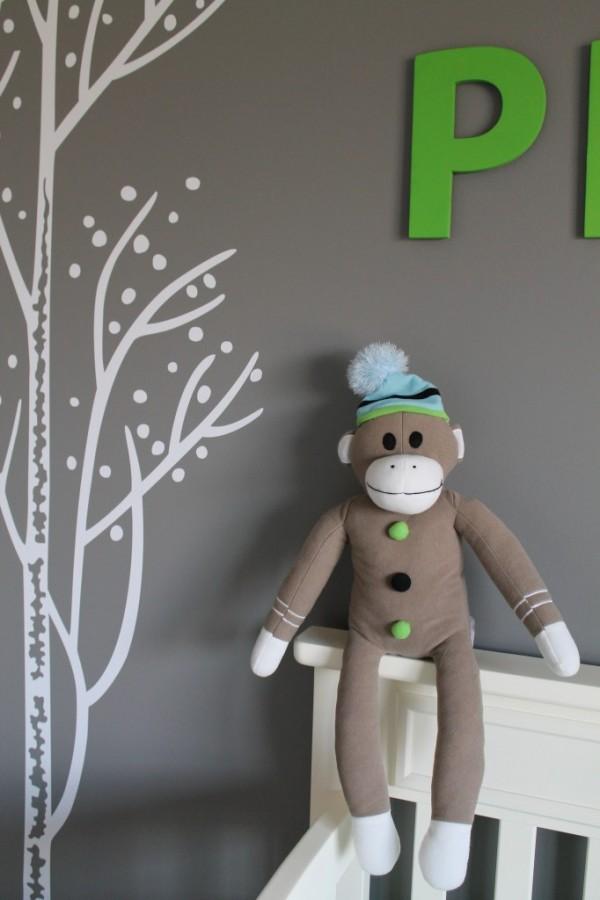 Blue, Green & Brown Sock Monkey Nursery