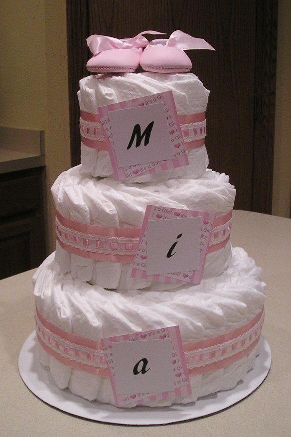 Cute Pink Diaper Cake For Girls