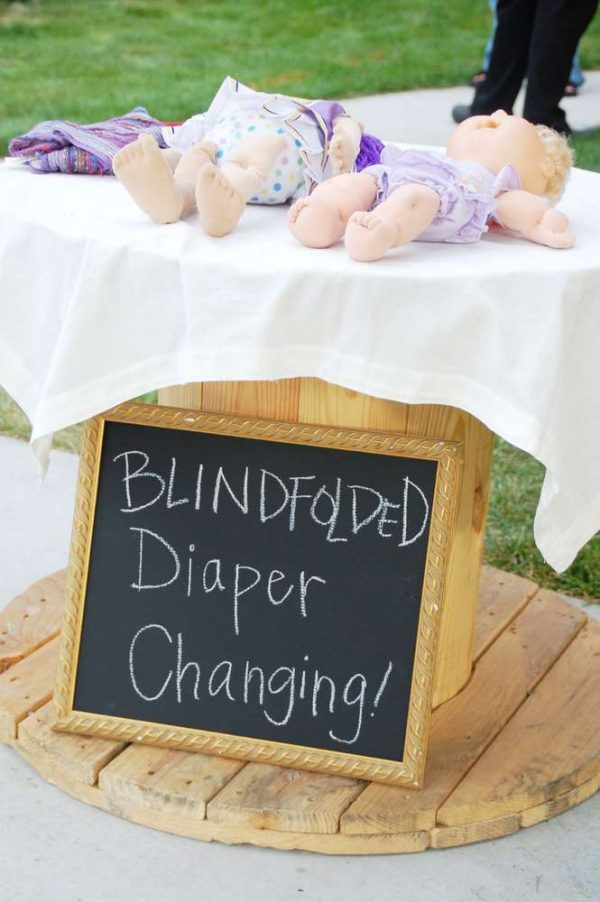 blind folded diaper change