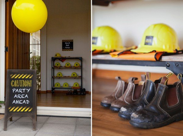 Construction Party sign and hats for little guests