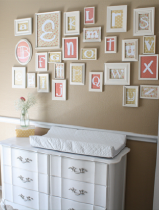 Create a gallery wall of framed letters to match your color scheme in your baby's nursery