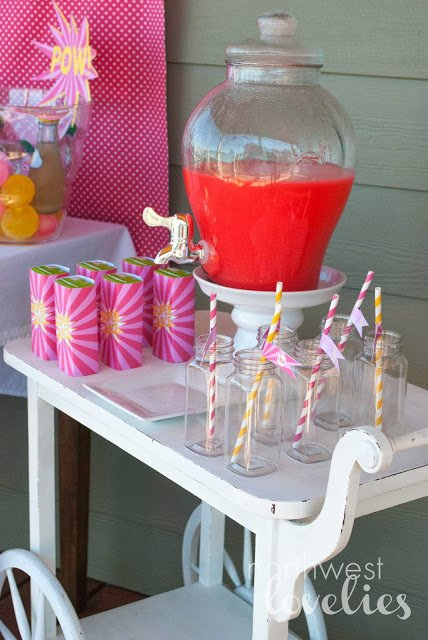 Pink Superhero party drink cart featured on Design Dazzle