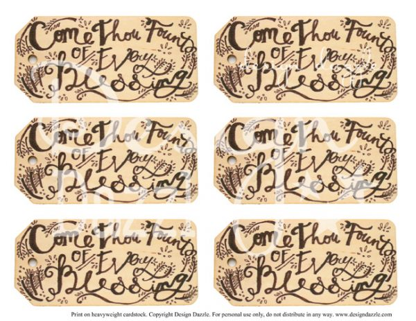 Come Thou Fount of Every Blessing printable tags