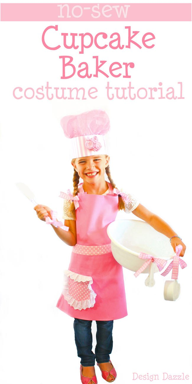 No-Sew Cupcake Baker Halloween Costume! Pink apron, tutorial on the chef hat and dollar store accessories help make this an INEXPENSIVE and EASY costume! Design Dazzle #nosewcostume #cupcakebaker #DIYhalloweencostume