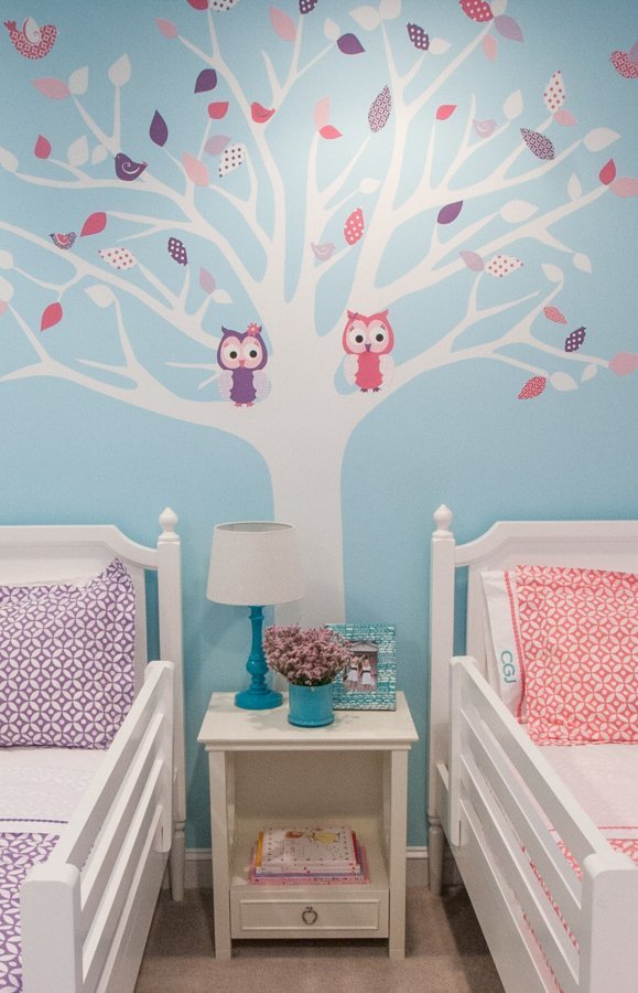 Twin Girls Room tree decal with owls for fall