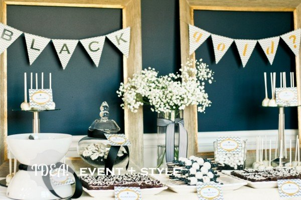 Black and Gold Gender Reveal party