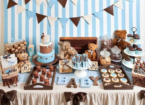 Classic Blue And Brown Teddy Bear Themed Boy Baby Shower