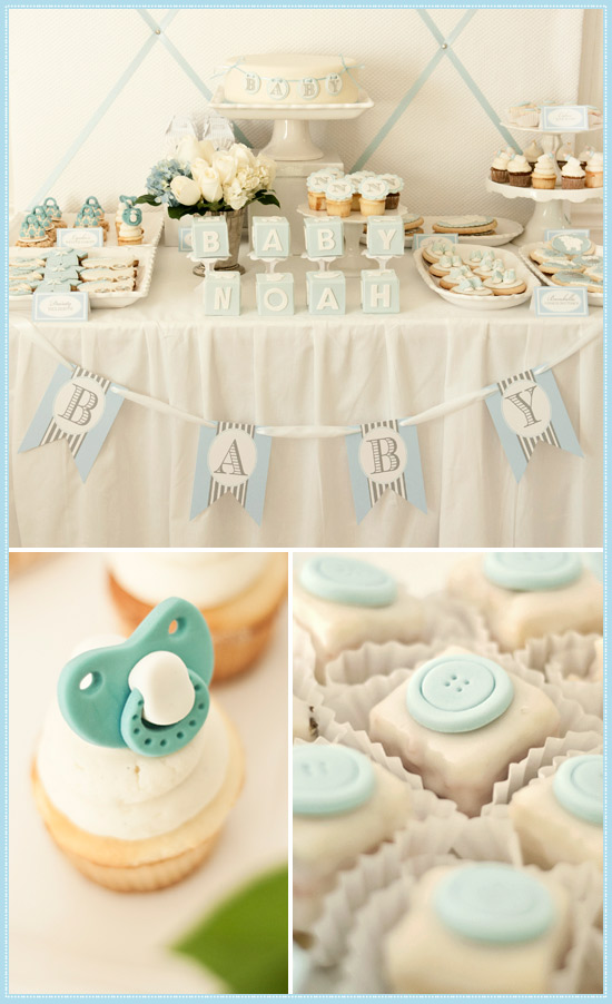 sophisticated boy baby shower with sweet pale blue and white color