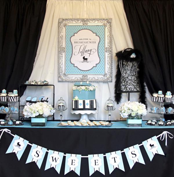 Breakfast at Tiffany's baby shower dessert table