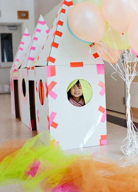 cardboard fort duct tape neon birthday party