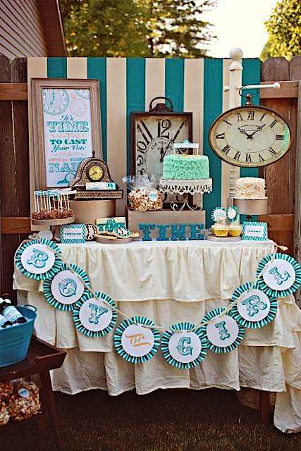 Clock Themed Gender Reveal Party