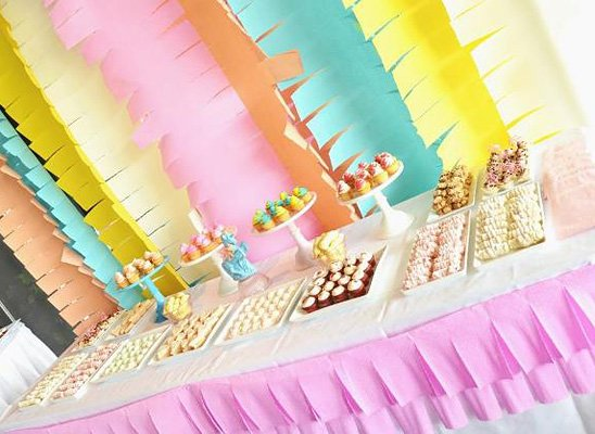 Colorful girl baby shower dessert table