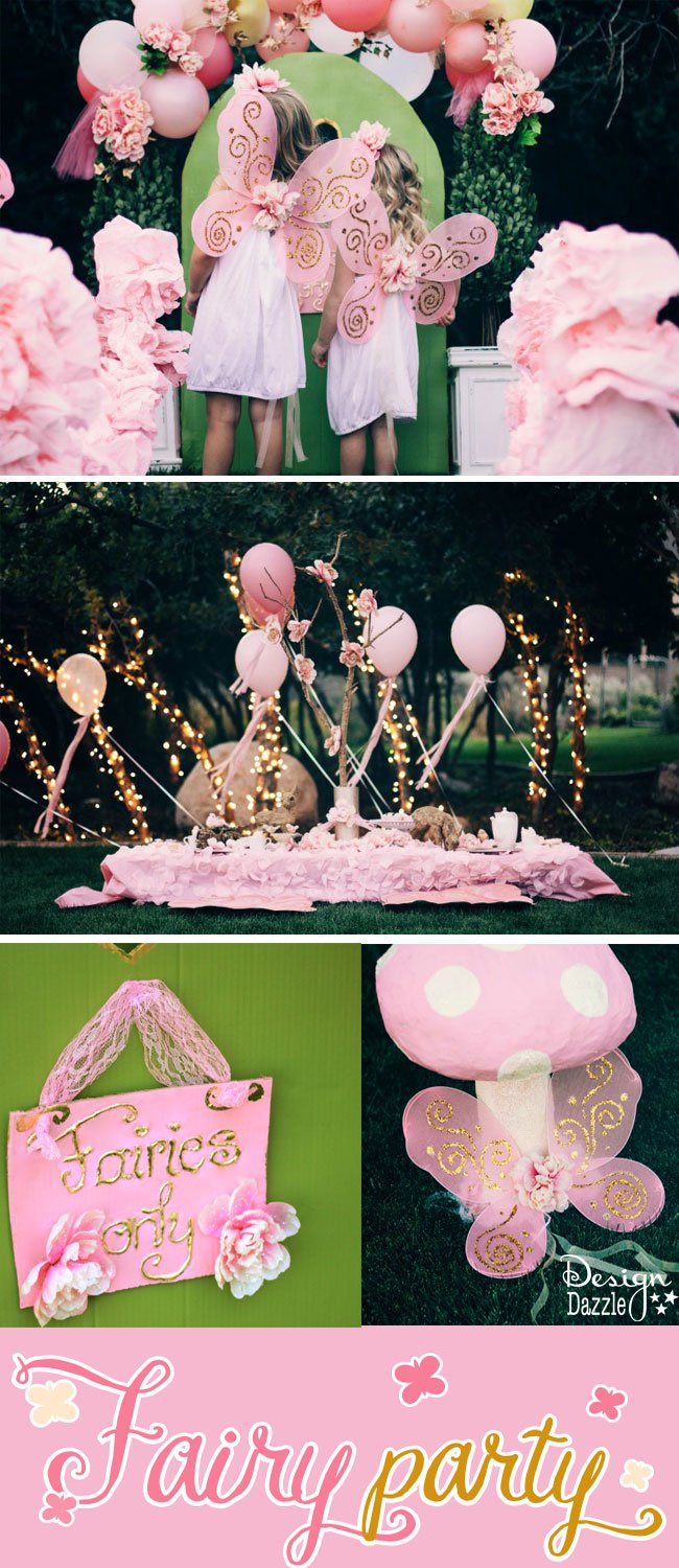 This fairy party cost less than $100 to create. There are lots of CREATIVE and AFFORDABLE do-it-yourself projects that can easily be recreated to make your own fairy party on a budget!! Design Dazzle #partyonadime #fairyparty #budgetparty