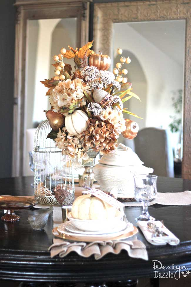 neutral fall tablescape centerpiece